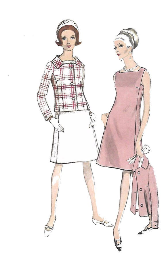 Jahrgang 1960 Nähen Muster Vogue Vierkantansatz a-Linie Kleid