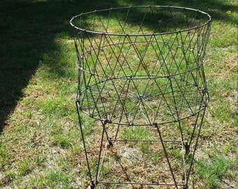 Vintage Industrial, Industrial Laundry, Laundry Basket, Collapsible Laundry, Round Metal Wire, Laundry Cart, Wheeled Laundry, Wire Laundry