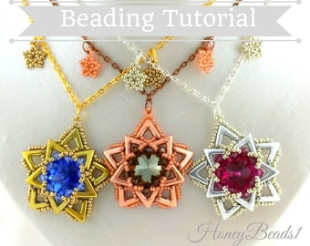 PDF-file Beading Pattern AVA Maria Star Pendant Necklace PDF-file Beading Tutorial by HoneyBeads1