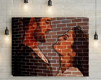 Custom Couples Portrait/ Mural - Canvas Print or Printable Mural Effect Portrait
