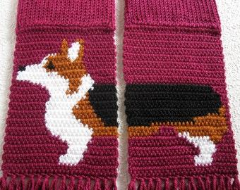Welsh Corgi Scarf. Berry color, crochet and knit scarf with a Pembroke welsh corgi dog.  Tricolor corgi gift.