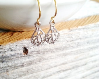 Filigree Earrings Mixed Metal Earrings Small Dangles Silver & Gold Delicate Lightweight Minimalist Golden Brass Simple Tiny