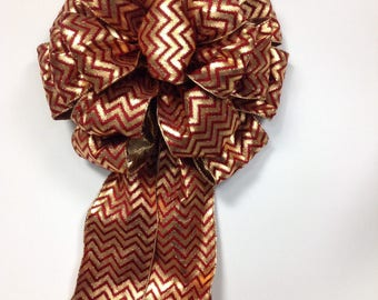 Burgundy and Gold Large Bow