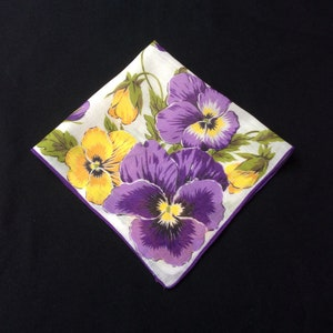 Vintage Purple Pansy Handkerchief, Flower Hankerchief, Floral Hankie,  Cotton Hanky