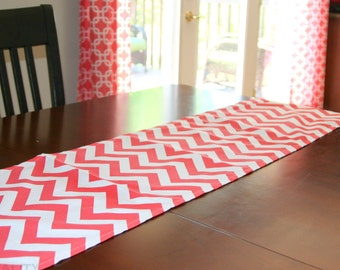 CLEARANCE Coral Table Runner, Coral Chevron Table Runner, Dinner Party Decor, Dresser Runner, Buffet Runner, Zig Zag Decor, Table Cloth SALE