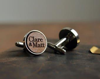 Wood Cufflinks, Personalised Cufflinks, Custom Cufflinks, Engraved Wedding Cufflinks in Dark Wood, Initial Cuff Links With Metal Surrounds