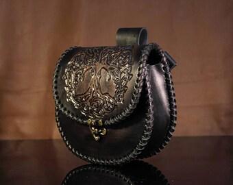 Leather sporran, purse, scottish bag, pouch, custom, larp, brown