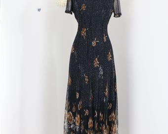 1980s Dress - Black Floral Maxi Midi Dress - Mesh - Short Mesh Sleeves - Back Tie - Summer Spring Fall Dress - Size Small/Medium