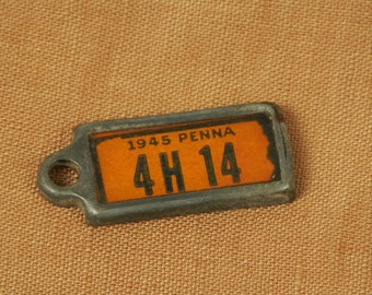 Miniature 1945 Penna License Plate Key Chain, Vintage 1945 Pennsylvania License Tag Key Chain Fob, 4H 14, Disabled American Veterans