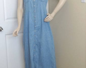 1990s Casual Corner Annex Denim Dress, Size 12, Riveted Snap Front, A-line Fitting, All Cotton, Vintage Clothing, 1990s Fashion, Boho Dress