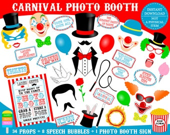 PRINTABLE Carnival Photo Booth Props-Printable Circus Photo Props-Carnival Photo Props-Circus Party Props-Carnival Props-Instant Download