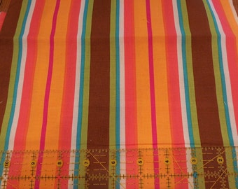 Destash- Bright Stripe Fabric Remnant For Quilting Or Crafting