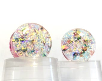Sparkle Plugs, Glitter Plugs, Dichroic Plugs, Angel Plugs, Bling Plugs, Ear Gauges, Ear Plugs Pair, Natural Plugs, Ear Weights, 00g, Tunnels