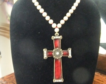 Costume pearl and enamel cross Necklace