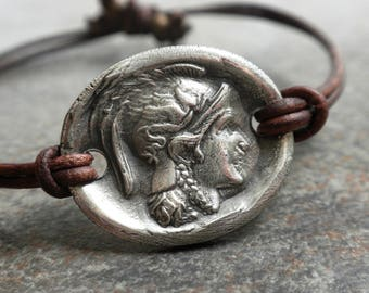 Mythology Jewelry Athena Boho Bracelet Silver Leather