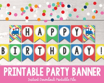 Train Birthday Party Banner Instant Download Happy Birthday Bunting for Boys in Red Yellow Green & Blue with Stripes and Polka Dots