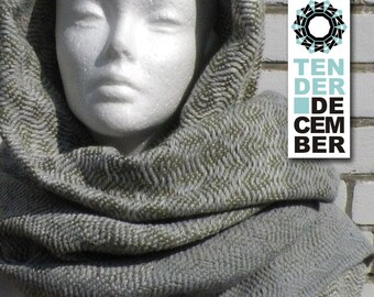 Blanket shawl, cream and khaki, handmade weaving, acrylic shawl, khaki scarf, weaving shawl women, handmade shawl, big scarfs,  woven shawl