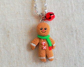 Gingerbread man pendant,christmas pendant,handmade gingerbread,food jewelry,secret Santa,stocking filler,polymer clay pendant,clay Christmas