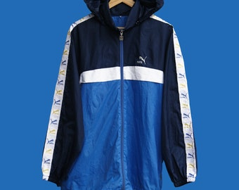 PUMA Vintage jacket, blue and white band 80s 90s