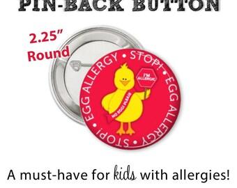 Allergy Alert Button • Egg Allergy Pin • Allergy Alert • Diaper Bag Pin • Egg Allergy Button • Allergy Warning Button • Don't Feed Me