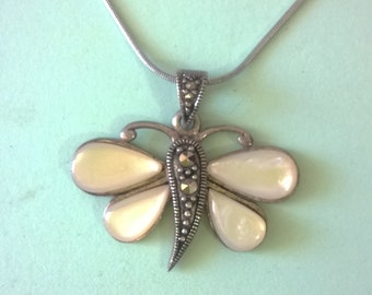 Armenian jewelry necklace pendant butterfly moonstone pendant sterling silver 925 marcasite jewelry bridesmade large moonstone pendant gifts