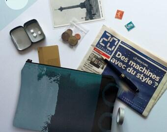 printmaker's pouch, pochette, zipper pouch, clutch, makeup bag, toiletry bag, travel bag, purse, screen print, gift ideas, teal, green