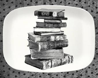 Old Books Stacked platter