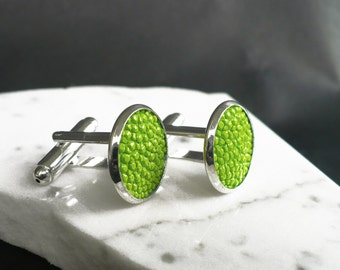 Greenery cuff links, lime green stingray leather cuff links