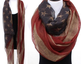 Vintage faded American flag infinity scarf / Winter American flag scarf /red white & blue scarf / Winter Olympic/ team USA /