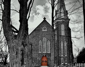 Presbyterian Church,Doylestown,Bucks County,Christian Art,Religious Art,Black and White,Cemetery,Print,Photograph,Canvas, Home Decor