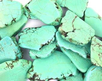 "15-25mm green turquoise freeform slab nugget beads 15.5"" strand 35929"