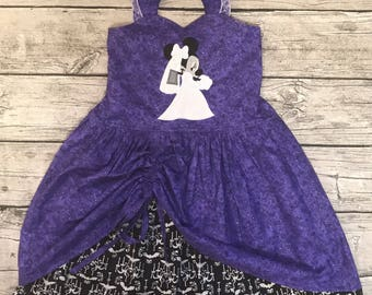 Disney inspired Haunted Mansion Hitchhiking Ghosts sweetheart peek a boo dress sizes 2-14