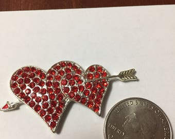 Valentine heart crystal bling needleminder