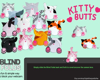 Blind Folds 12 Kitty Butts printable paper webcam covers