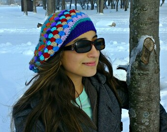 striped slouchy beanie| winter hat| slouchy hat| granny stripe hat| beret