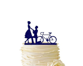 Glitter Proposal with Bike - Acrylic Wedding/Special Event Cake Topper - 074