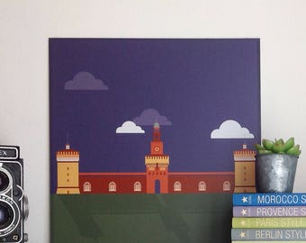 Castello Sforzesco, Milan, illustrated by Milan Icons. Digital print on aluminum 30 x 30 cm