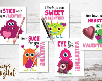 Monster Love Valentines - 5 designs