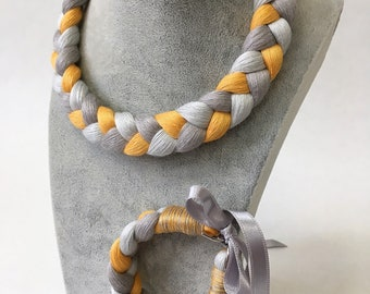Braided linen necklace and bracelet - grey and yellow