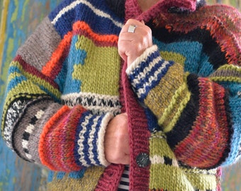 Individual, colourful bomber jacket, patchwork, wool