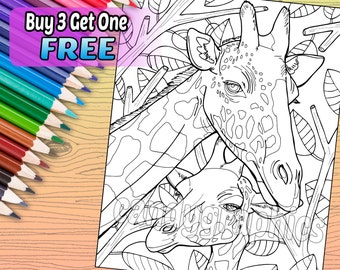 Giraffe - Adult Coloring Book Page - Printable Instant Download