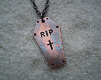 RIP coffin pendant with cross