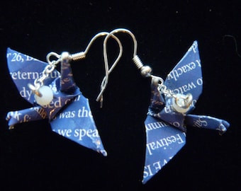 Festival Word Bird Crane-Dangle Earrings +free shipping ~ blue with white text recycled-upcycled-repurposed paper #e703 marlisa origami