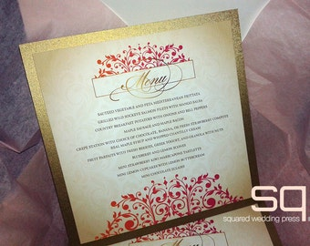 Gold Romantic Menu Cards -DEPOSIT- Wedding Reception - Reception Menus, Custom Design Wedding Reception Decor Event Menu - Gold, Pink, Ombre