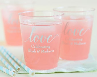 Personalized Clear Plastic Wedding Cups