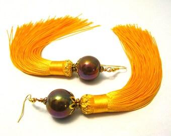 Tassel Earrings, Goldtone Tassel Earrings, Long Yellow Tassel Earrings, Boho Tassle Earrings, Tassel Jewelry, Fringe Earrings, Gifts for Her