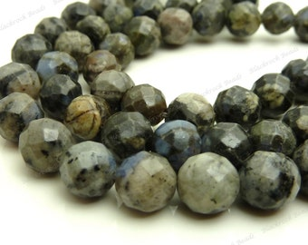 8mm Black Spotted Quartz Round Beads - 25pc Strand - Faceted Gemstone Beads - BC30