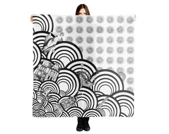 Black and White scarves, Lightweight Shawls Wraps, Psychodelic Patterned Scarf, Funny Graphic Scarf, Waves Coastal Shawl, Architecture print