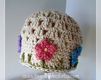 Crochet Pattern Beautiful Spring Beanie Cloche Hat with Flowers - Gift Baby Shower -  DIY Instructions for Size Newborn to Adult  No. 16