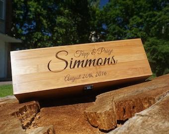 Engraved Wood Wine Boxes > Custom Wedding Wine Box > Custom Bamboo wine Box > Custom Wine Box > Personalized Wine Box > Simmons family wine